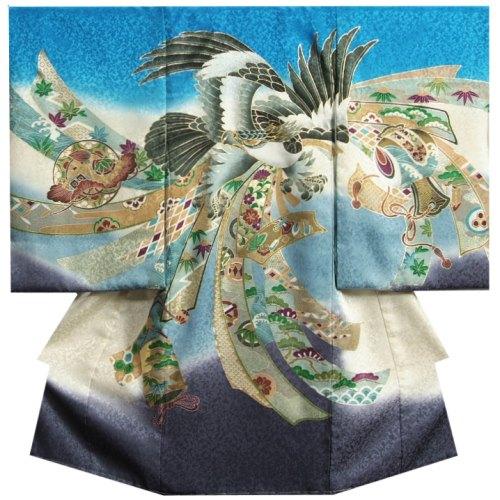 お宮参り 着物 男の子 正絹初着 男の子用産着 青濃紫グラデーション色 鷹 金糸刺繍使い まだら地紋 日本製