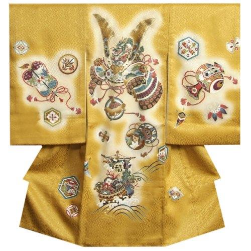 お宮参り 着物 男の子 正絹初着 男の子用産着 金茶ぼかし 兜 宝船 金糸刺繍使い サヤ地紋 日本製