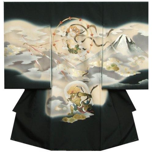 お宮参り 着物 男の子 正絹初着 風神雷神 琳派 手描き 手染め 金銀彩箔 変わり無地生地 日本製