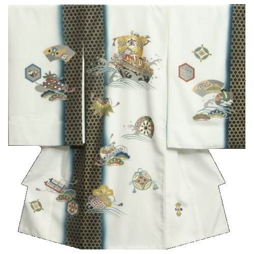 お宮参り着物 正絹男児初着 白地 宝船 金彩籠目文様 金コマ刺繍 変り無地精華生地 日本製