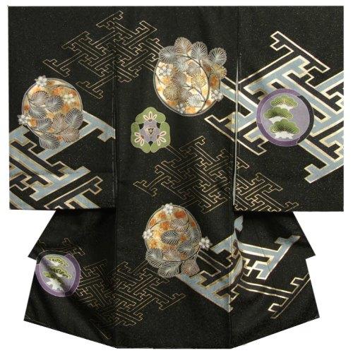 お宮参り 着物 男 正絹男児初着 黒地 金銀刺繍使い羊歯文様 金通し生地 日本製
