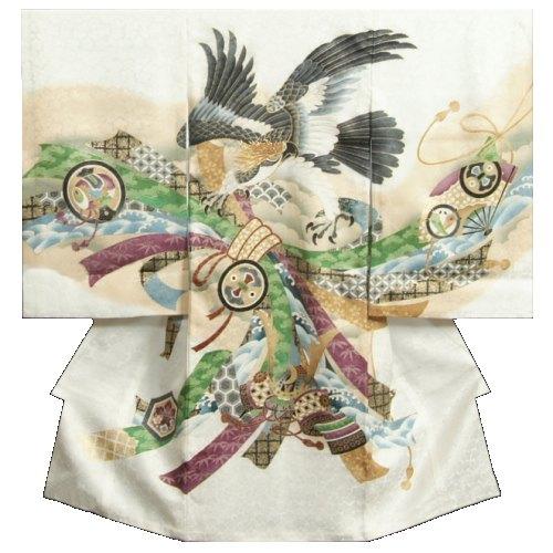 お宮参り 着物 男の子 正絹男児初着 白 ボカシ染め分け 鷹 熨斗 金糸刺繍使い 桜地紋