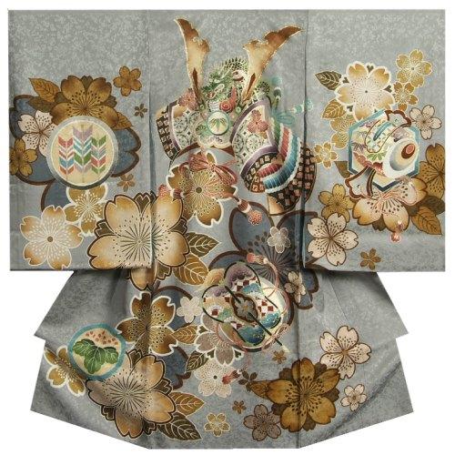 お宮参り 着物 男の子 正絹男児初着 グレー 兜 金糸刺繍使い 老桜 金彩使い まだら地紋 日本製