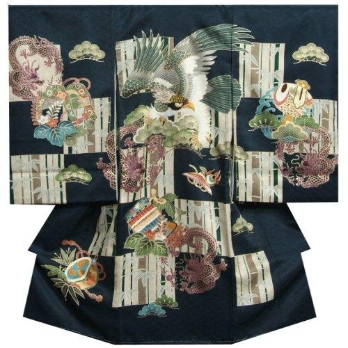 お宮参り 着物 男の子 正絹初着 男の子用産着 紺色 鷹 六龍図 刺繍使い 市松 菱紋地紋 日本製