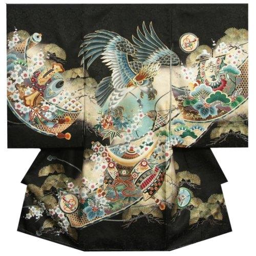 お宮参り 着物 男の子 正絹初着 男の子用産着 黒 鷹 兜 松竹梅 刺繍使い 桜地紋生地