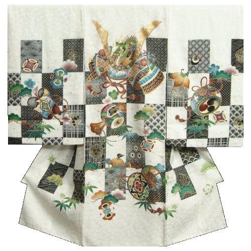 お宮参り 着物 男の子 正絹初着 男の子用産着 白 黒市松紋 兜 刺繍使い 桜地紋生地