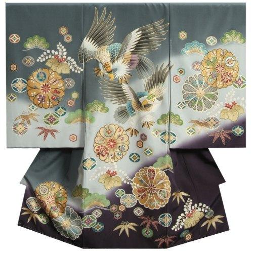 お宮参り 着物 男 正絹初着 男の子用産着 灰色裾濃紫染め分け 二羽鷹 刺繍使い 精華生地 日本製