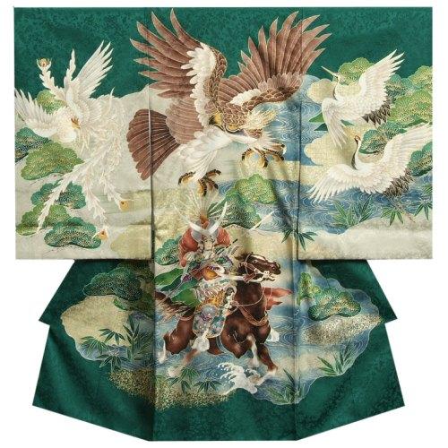 お宮参り 着物 男の子 正絹初着 緑色 鷹 騎馬武者 金糸刺繍使い 金彩 まだら地紋生地