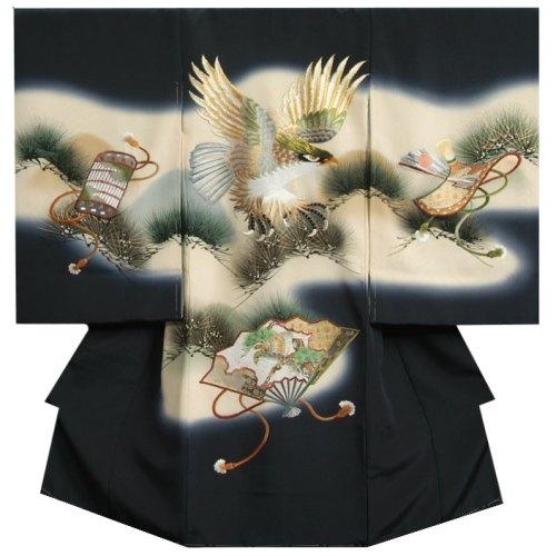 お宮参り 着物 男 正絹初着 濃紺地 総刺繍鷹 金銀彩 帯地扇使い 変り無地精華生地 日本製