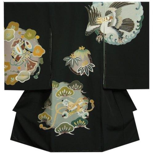 お宮参り 着物 男の子 正絹初着 波輪に鷹 光琳文様 手描き 手染め 変わり無地精華生地 日本製