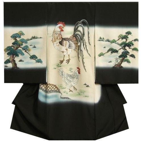 お宮参り 着物 男の子 正絹初着 黒色 尾長鶏 松 手描き 手染め 変わり無地精華生地 日本製