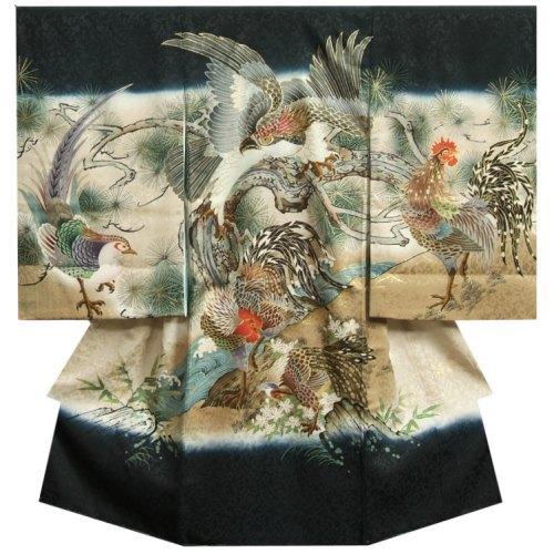 お宮参り 着物 男 正絹初着 男の子用産着 濃紺色 鷹 尾長鶏 金糸刺繍使い まだら地紋生地 日本製