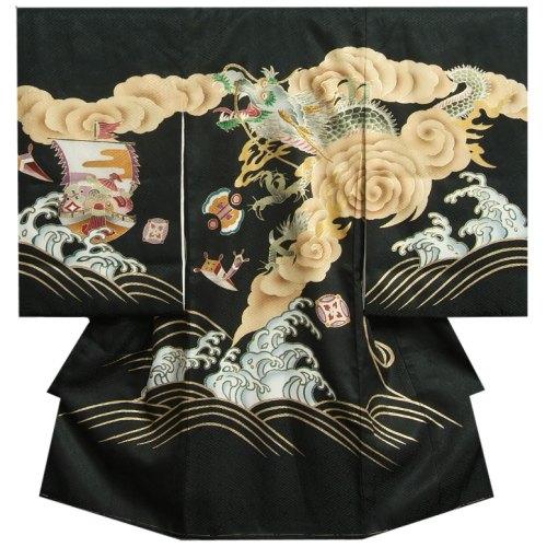 お宮参り 着物 男の子 正絹男児初着 黒 荒波昇龍柄 刺繍使い 金彩 サヤ地紋生地 日本製