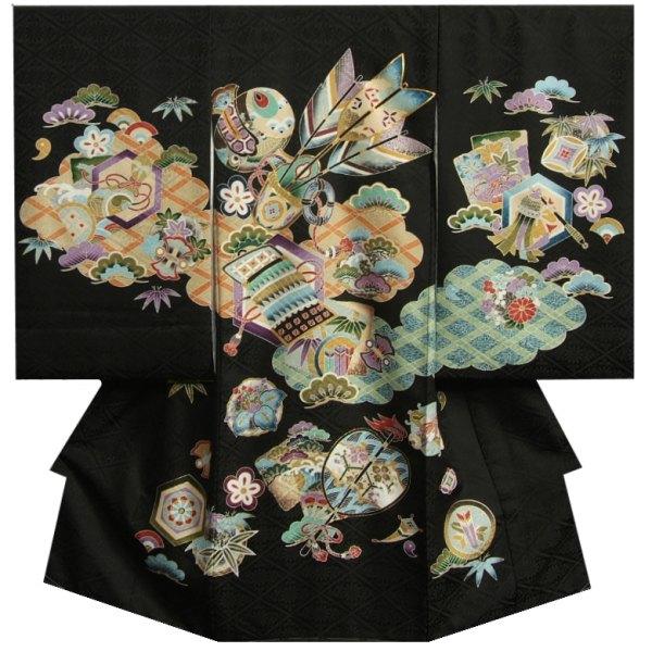 お宮参り 着物 男 正絹男児初着 黒色 宝尽くし 金コマ刺繍使い 菊桐菱地紋生地 日本製