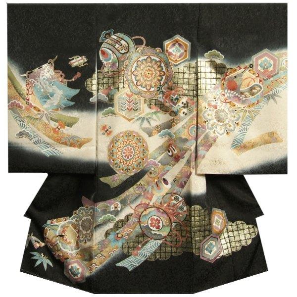 お宮参り 着物 男の子 正絹初着 黒 鏡 小槌 金コマ刺繍 金彩使い まだら地紋生地 日本製