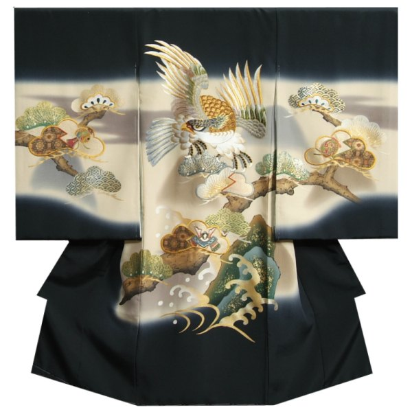 お宮参り 着物 男の子 正絹初着 濃紺 総刺繍見返り鷹 帯地松 金彩波型 変わり無地精華生地 日本製