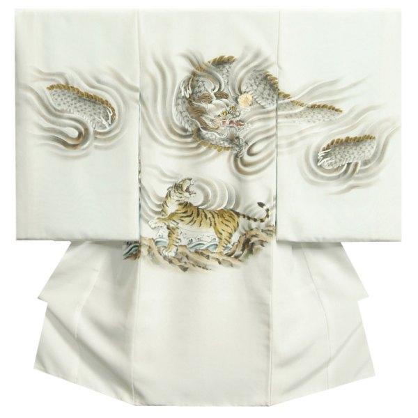 お宮参り 着物 男の子 正絹初着 白色 龍虎相対図 手描き 手染め 変わり無地精華生地 日本製