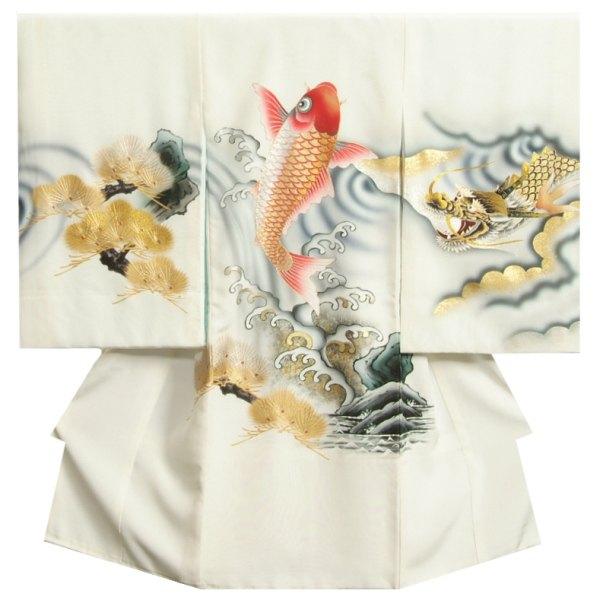 お宮参り 着物 男の子 正絹初着 白色 登竜門鯉の滝登り図 龍 金括り加工 金彩箔 変わり無地精華生地 日本製