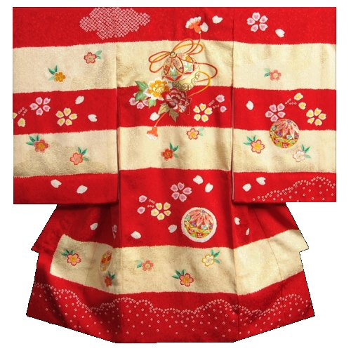 お宮参り 着物 女の子 正絹初着 赤黄色梯子染め 本絞り 手描き 柄刺繍使い 金彩箔 紋意匠生地 日本製