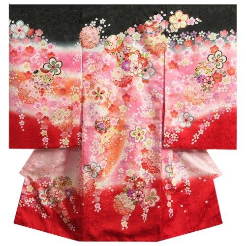 お宮参り 着物 女の子 正絹初着 濃淡黒ピンクグラデーション 裾赤染め分け まり 桜尽くし 金彩 金コマ刺繍 日本製