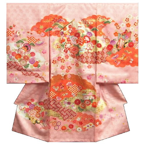 お宮参り 着物 女の子 正絹初着 女の子用産着 桜色 橙雲取配色 几帳文様 刺繍使い 金彩 日本製