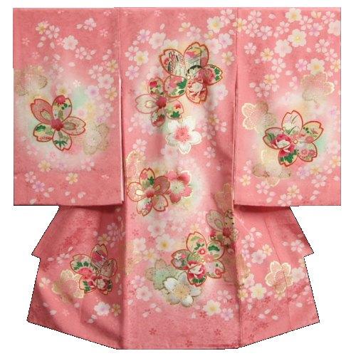 お宮参り 着物 女の子 正絹初着 桜ピンク色 大小桜 刺繍使い 金彩 サヤ華本地紋生地 桜尽くし 日本製