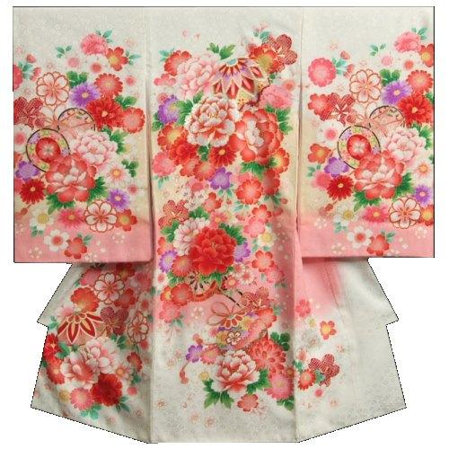 お宮参り 着物 女の子 正絹初着 白地ピンクボカシ染め まり 刺繍使い 桜 牡丹 金彩 地紋生地