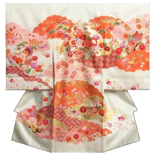 お宮参り 着物 女の子 正絹初着 女の子用産着 白色 橙雲取配色 几帳 刺繍使い 金彩 日本製