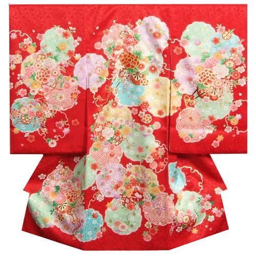 お宮参り 着物 女の子 正絹初着 女の子用産着 赤色四色染め分け 花車 金糸刺繍使い 桜地紋生地