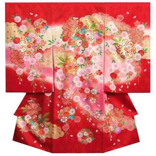 お宮参り 着物 女の子 正絹女児初着 赤色 ピンク黄色ぼかし染め分け 桜 金コマ刺繍 サヤ華地紋 日本製