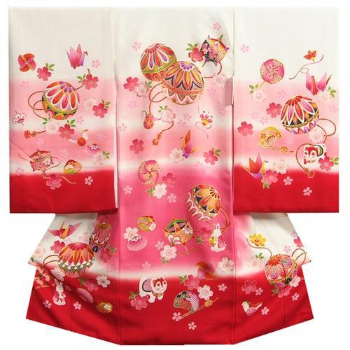 お宮参り 着物 女の子 正絹初着 女の子産着 白 ピンク濃淡ぼかし裾赤染分け まり 金コマ刺繍 金彩 紋意匠生地 日本製