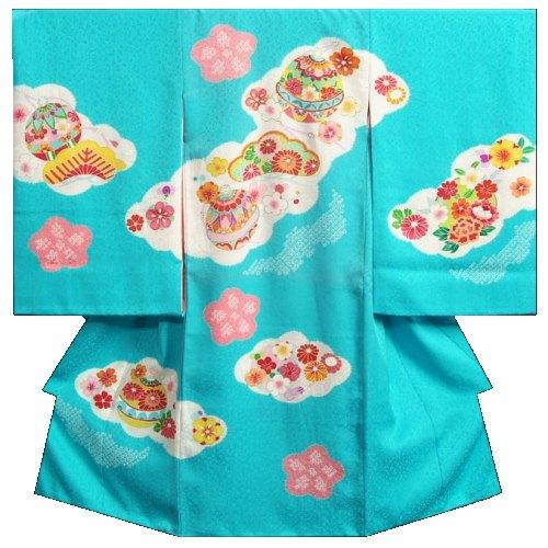 お宮参り 着物 女の子 正絹初着 水色 鈴 本絞り 手描き 金彩使い まだら地紋生地 日本製