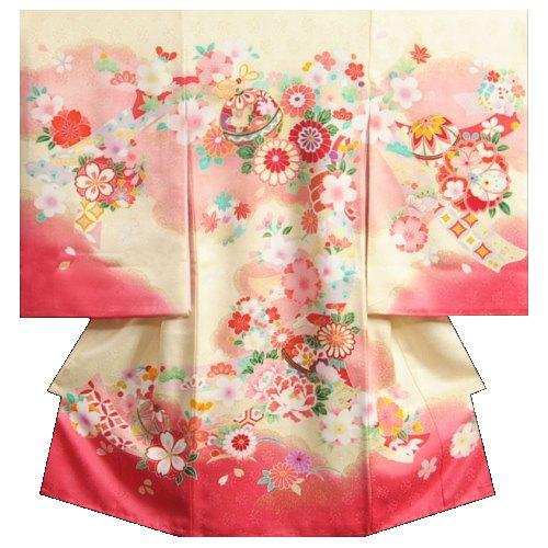 お宮参り 着物 女の子 正絹女児初着 クリーム色 濃淡ピンク 鈴 牡丹菊 金コマ刺繍 サヤ華地紋 日本製