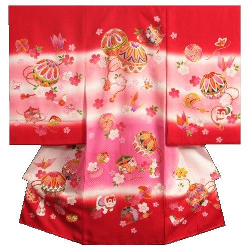 お宮参り 着物 女の子 正絹初着 女の子産着 赤 ピンクぼかし まり 金コマ刺繍 金彩 紋意匠生地 日本製