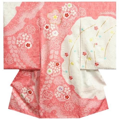 お宮参り 着物 女の子 正絹女児初着 ピンク 白 雪輪染め 手絞り 手染め 桜刺繍 金彩 日本製