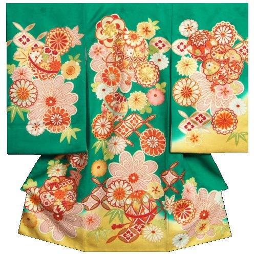 お宮参り 着物 女の子 正絹初着 緑色裾山吹染め分け まり 手描き 金彩 金コマ刺繍 地紋生地 日本製