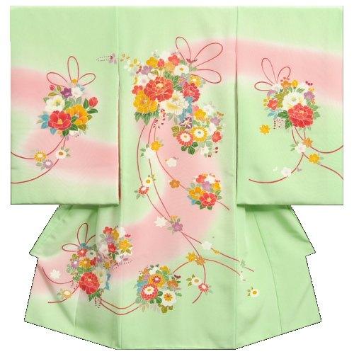 お宮参り 着物 女の子 正絹初着 浜ちりめん 三越織り 黄緑ピンク流水ぼかし 手染め 手描き 日本製