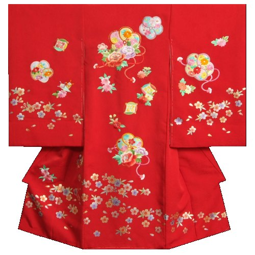 お宮参り 着物 女の子 正絹女児初着 赤 刺繍捻り梅 金銀彩箔桜 まだら地紋生地 日本製