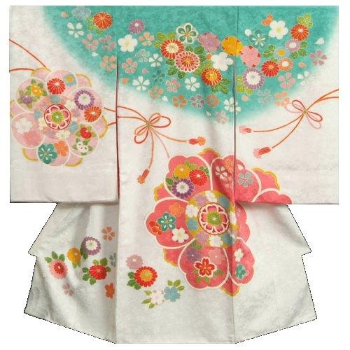 桜 牡丹 正絹女児初着 有職桜地紋 白色 日本製 金コマ刺繍 お宮参り着物 翡翠緑 手染め 手描き