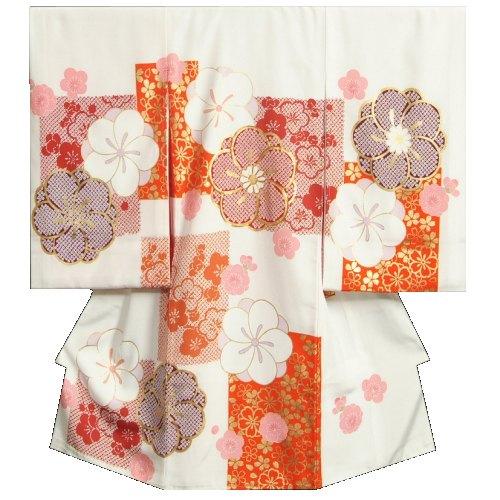 お宮参り 着物 女の子 正絹初着 白地 橙エンジ市松 捻り梅 金彩 金コマ刺繍使い 地紋生地 日本製