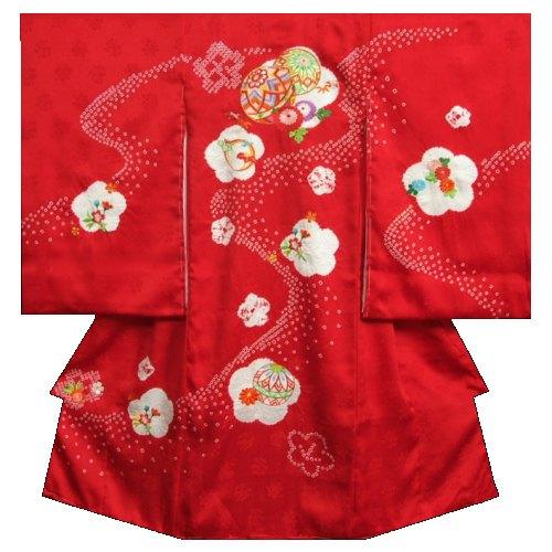お宮参り 着物 女の子 正絹女児初着 赤色 刺繍まり 本梅手絞り サヤ桜珠地紋生地 日本製