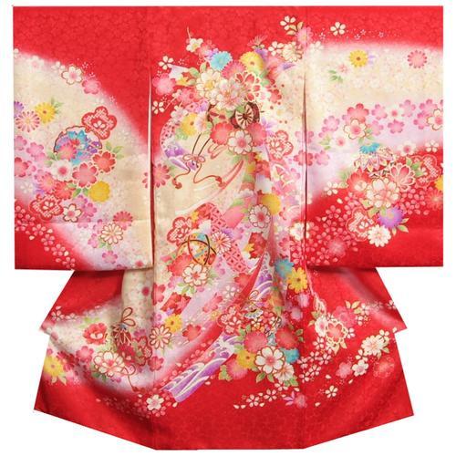 お宮参り 着物 女の子 正絹女児初着 女の子用産着 赤 花車 刺繍使い 桜地紋