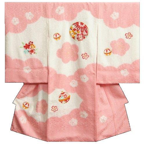 お宮参り 着物 女の子 正絹初着 ピンク 柄総刺繍 まり 手絞り 手染め 小帽子梅絞 サヤ本地紋 日本製