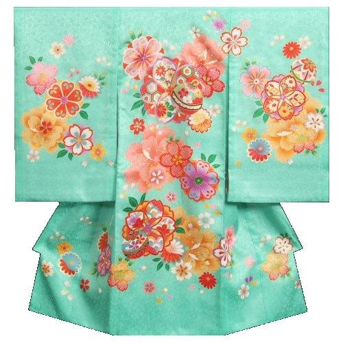 お宮参り 着物 女の子 正絹初着 青緑色 七宝桜 牡丹 金コマ刺繍 小桜地紋 日本製
