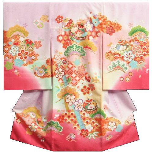 お宮参り 着物 女の子 正絹初着 ラベンダー地裾ピンク染め分け 松竹梅 鈴 金コマ刺繍使い 地紋生地 日本製