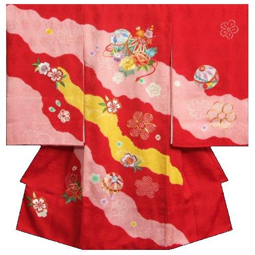 お宮参り 着物 女の子 正絹初着 赤 黄桃流水取り配色 本手絞り まり梅牡丹刺繍使い 日本製