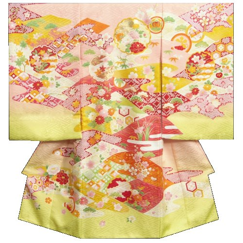 お宮参り 着物 女の子 正絹初着 サーモンピンク 裾若草色 金コマ刺繍雪輪 金彩使い サヤ地紋生地 日本製