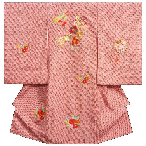 お宮参り 着物 女の子 正絹初着 赤 四つ巻き総本鹿子絞り 束ね熨斗 柄総刺繍使い 金通し 日本製