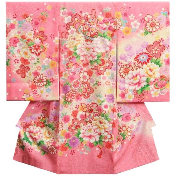 お宮参り 着物 女の子 正絹初着 ピンク 鈴 刺繍芍薬 金コマ刺繍使い 地紋生地
