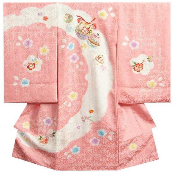 お宮参り 着物 女の子 正絹初着 ピンク 白 重ね雪輪本絞り 総刺繍金彩箔 菊桐菱地紋生地 日本製